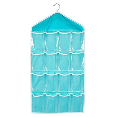 16 Sulida® Chaussettes poches de bleu suspendus sacs Culottes organisateur Poches de gorge Bijoux Soutien rangement Chaussures pour q1Irq6wd