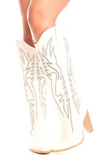 Lolli Couture für immer Link Kunstleder Lace UP lange Kampfstil mit Ferse kniehohe lange Stiefel Weißer Holie