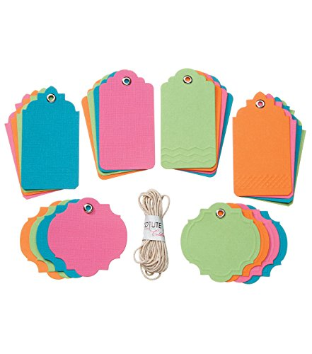 GX-8000-28 Core'dinations(r) Tags with String - Brights - Assorted Sizes - 24 Pieces with String