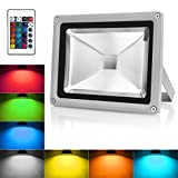 Warmoon Outdoor LED Flood Light, 10W RGB Color Changing Waterproof Security Wall Lights