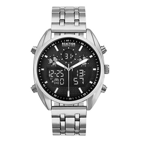 - Kenneth Cole REACTION Men's ANA-DIGIT Analog-Quartz Watch with Alloy Strap, Silver, 20.5 (Model: RK50550003