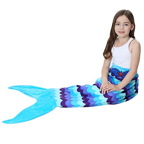 Halloween Mermaid Tail Blanket for Girls Flannel Warm All Seasons Wearable Blankets Sleeping Bags Cosplay party favors Best Great Gift for Friends Family Apply to Bedroom Sofa Beach Outdoor Role Play -