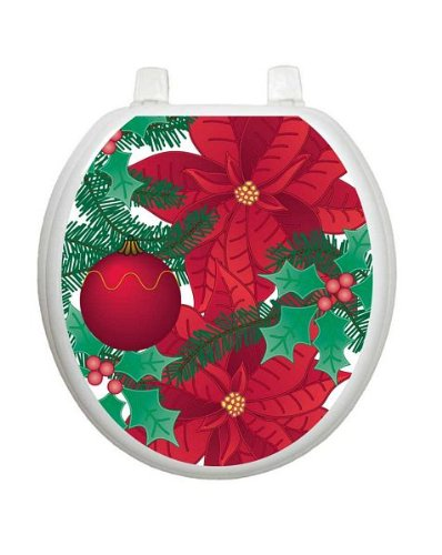 Poinsettia Christmas Toilet Tattoo TT-X600-R Round Winter Holiday by Toilet Tattoo