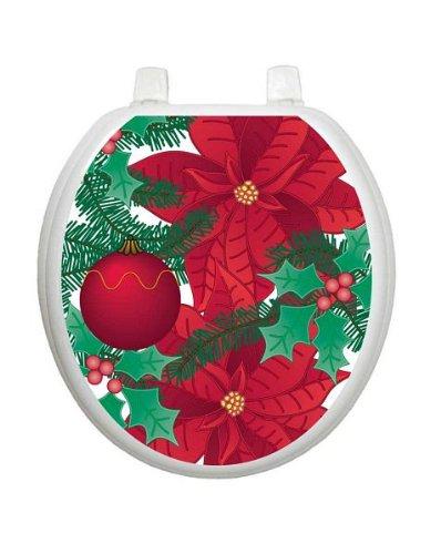 Poinsettia Christmas Toilet Tattoo TT-X600-R Round Winter Holiday Lena Fiore'