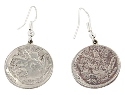 Native-Bay VINTAGE OLD Rusted Buffalo Nickel Coin Authentic Made By Ben T. Riggs Navajo Silver Dangle Earrings