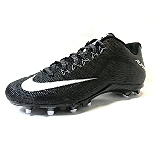 Nike Alpha Pro 2 Football Cleat (10, BLACK/WHITE/METALLIC DARK GREY)