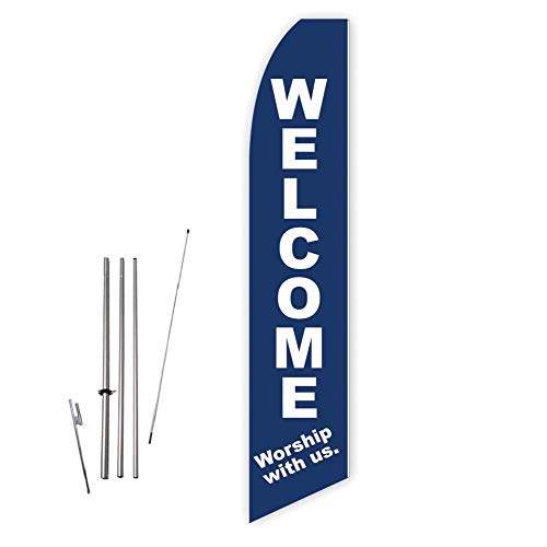 Welcome Worship with Us (Dark Blue) Super Novo Feather Flag - Complete with 15ft Pole Set and Ground Spike