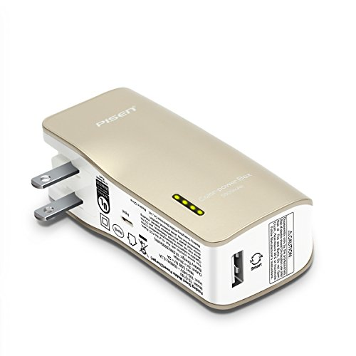 PISEN 2-in-1 Portable Charger - Battery Pack with Foldable AC Plug - 5000mAh Power Bank for iPhone, iPad, Android, Tablets, Samsung Galaxy and More (Gold) by PISEN