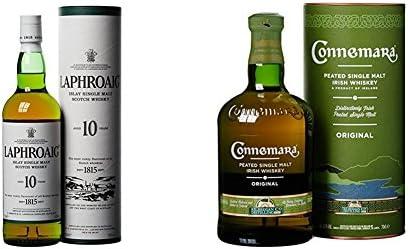 Laphroaig - Whisky Islay Single Malt, 10 años, 70 cl + Connemara Whisky Peated Single Malt - 700 ml