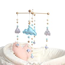 Baby Crib Mobile Bed Bell Rattle Toys White and Blue Cloud Cot Mobile Wooden Wind Chimes Tent Hanging Baby Boy Shower Gift Home Decor DIY Ornaments