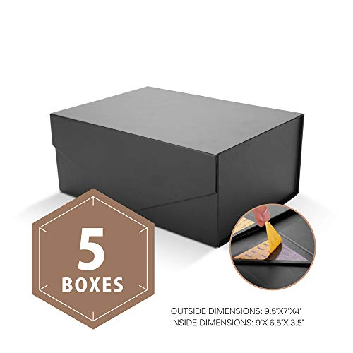 PACKHOME Gift Boxes Rectangular 9.5x7x4 Inches, Groomsman Boxes Rectangle Collapsible Boxes with Magnetic Lid for Gift Packaging (Matte Black with Embossing, 5 Boxes)