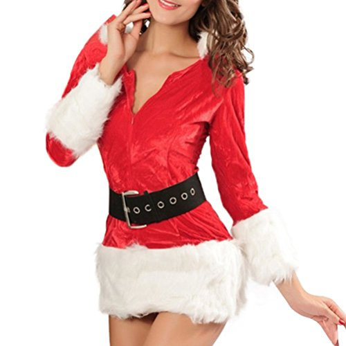 Christmas Santa Costume Adult Women Miss Santa Suit Dress for Child Girls (New Version-Christmas Dress for Size XS to L) ()