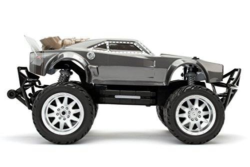 Jada Toys Fast & Furious F8: Dom's Ice Charger High Speed Elite Off Road RC/Radio Control Toy Car/Vehicle, 2.4 Ghz, Ready to Run with Working Lights, Grey, 1: 12