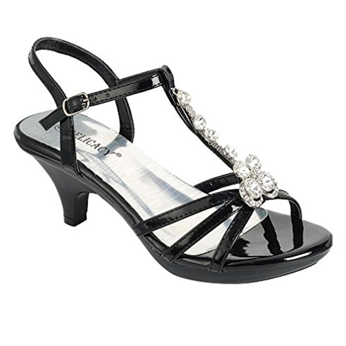 8b63987d58306b Galleon - Delicacy Womens Strappy Rhinestone Dress Sandal Low Heel Shoes  Heeled Sandals