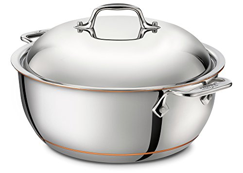 All-Clad 6500 SS Copper Core 5-Ply Bonded Dishwasher Safe Dutch Oven with Lid/Cookware, 5.5-Quart, Silver