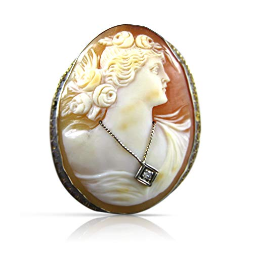 Milano Jewelers Large. 03CT Old Mine 14K White Gold Filigree Lady Cameo PIN Brooch 21732
