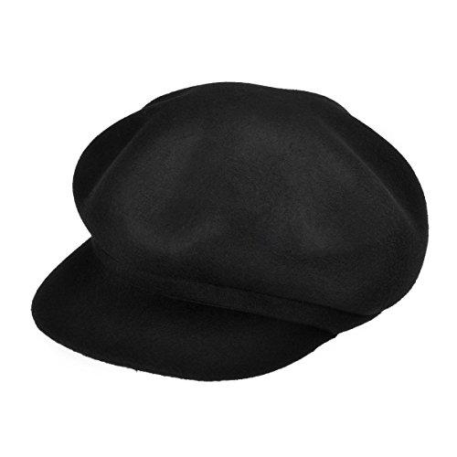 ZLYC Women 100% Wool Felt Fashion Octagonal Hat