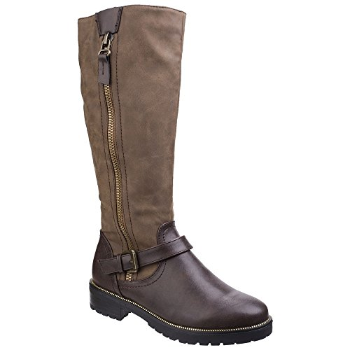 Up blue Contrast ladies Womens Zip Manson High Boots Brown Divaz Knee nwR0vaBaq