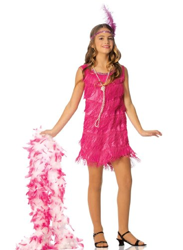 Flapper Girls Costumes (Official Costumes Flapper Kids Costume, Hot Pink, Large)