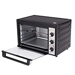 1800 Watt 40 L Electric Toaster Oven, timer 60 Minute Temperature range 70 to 230 Degrees Celsius, Perfect for Baking Whole Range of Foods Bagels, Pizza, Frozen Snacks, Potatoes, and Cookies, Black