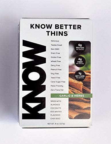 KNOW Foods - KNOW Better Thins, Garlic & Herbs, Keto, Paleo, Grain Free, Gluten Free,  8oz Box