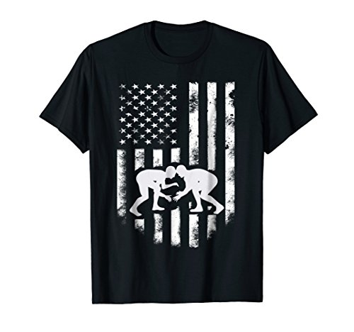 American Flag Wrestling T-Shirt Distressed Wrestle Gift Tee