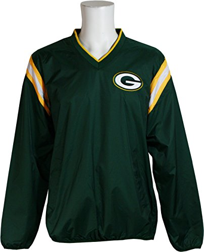 G-III Sports Green Bay Packers V-Neck Pullover Windbreaker, X-Large