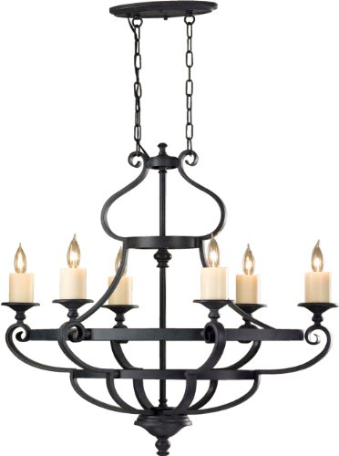 Feiss F2517/6AF 6-Bulb Chandelier, Antique Forged Iron Finish (Antique Forged Chandelier Iron Table)