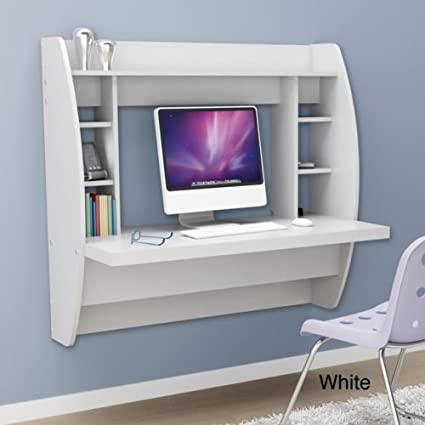 White Floating Desk With Storage. This Office Desk Furniture Is A Space  Saving Solution For