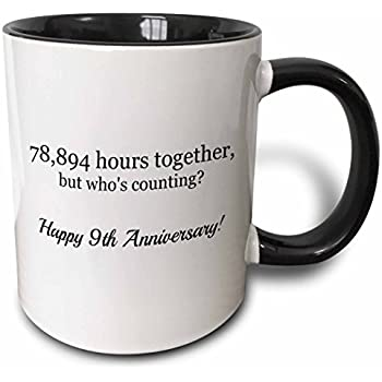 Amazon 3drose 9th wedding anniversary gift magic 3drose mug2246544 happy 9th anniversary 78894 hours together two tone black mug 11 oz negle Choice Image