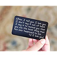 Engraved Wallet Insert Anniversary Gifts for Men; Boyfriend Gifts for Him; Handmade Mini Love Note; Anniversary Card from Wife for Husband, Friends, Boyfriend, Deployment