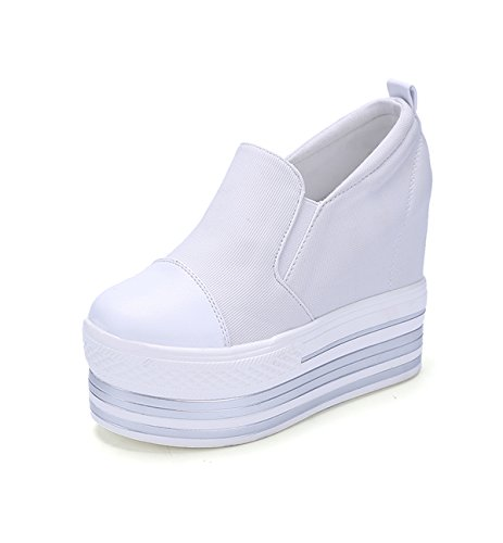 Women's increased heavy-bottomed canvas shoes (white? - 4