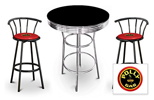 New 3 Piece Bar Table Set Includes 2 Swivel Seat Bar Stools featuring Polly Gas Theme with Red Seat Cushion