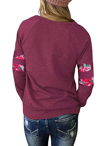Pullover Col et pissure Pulls Manches Longues Femmes Monika Rouge Printemps Jumpers Fashion Tops Hauts Imprime Rond T Sweat Casual Automne Blouse Shirts Vin Shirts YwqRqU
