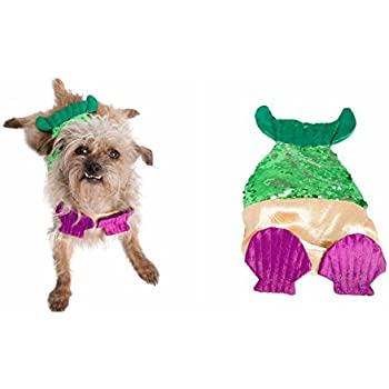 Mermaid Dog Costume with Two-Toned Sequins Tail - Pet Costumes by Pet Krewe (S/M)