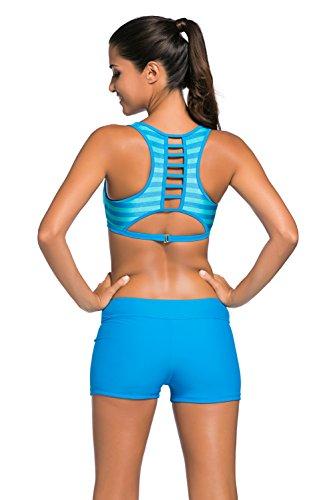 New Blue Stripe modello sportivo 2PCS Tankini set bikini Swimsuit Swimwear estivo taglia UK 10EU 38