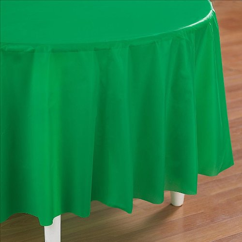 - 12 Pack Premium Disposable Plastic Tablecloth 84 Inch. Round Table Cover by OOki (Emerald Green)