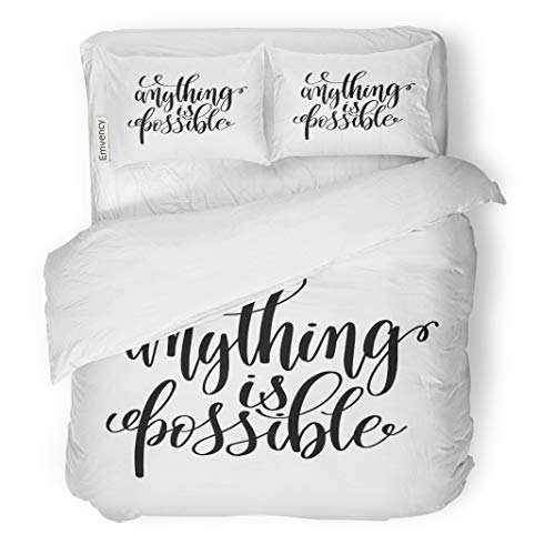 Semtomn Decor Duvet Cover Set Full/Queen Size Anything is Possible Black and White Lettering Positive Quote 3 Piece Brushed Microfiber Fabric Print Bedding Set Cover
