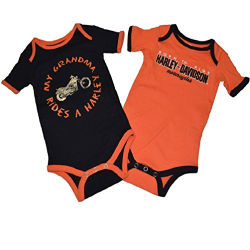 Harley Davidson GRANDMA 2 Pack Orange Bodysuit