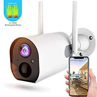 Wireless Outdoor Security Camera, Rechargeable Battery-Powered Home Security WiFi Camera, 4dbi Antenna, Motion Detection, 2-Way Audio, Night Vision, IP66 Waterproof, Cloud Storage/SD Slot, 2.4G WiFi