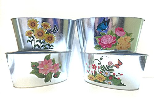 Jardiniere Collection - AGF Home + Hospitality Collection of 4 Tin French Jardiniere Garden Planters