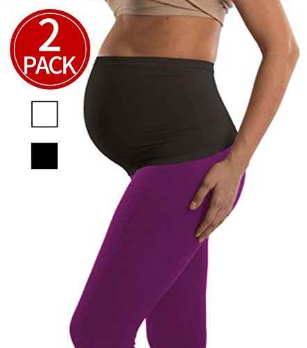 2-Pack-Womens-Maternity-Belly-Band-Seamless-Everyday-Support-BandsNon-slip-for-BeforeAfter-Baby