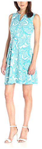 London Times Women's Wallpaper Leaf Belted Full Skirt, Blue 12