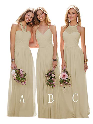 Women's Halter Chiffon Bridesmaid Maxi Dress Long Evening Prom Dress Formal Party Gown Champagne Size 8