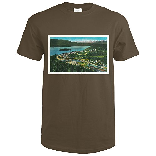 Town View of Cordova, Alaska (Dark Chocolate T-Shirt Large) (Cordova Chocolate)