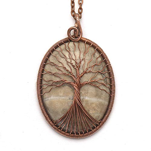 Natural Fossilized Coral Necklace Wire Wrapped Pendant Tree of Life Necklace Healing Stone Jewelry