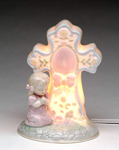 (Fine Porcelain Inspirational Praying Girl by Cross Lighted Night Light Figurine, 5.25