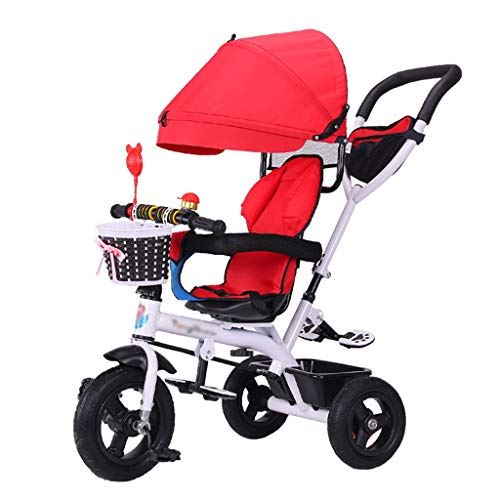 (4-in-1 Children's Stroller Trike Bike Push and Ride Baby Trolley with Brakes and Demountable Awning Folding Kids' Tricycle for 6 Months - 6 Years Old Red)