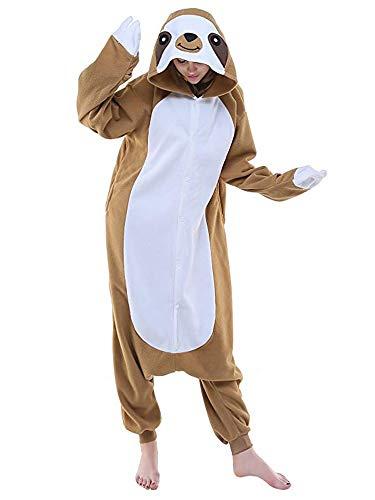RECM Unisex Adult Sloth Pajamas Plush Homewear Halloween Cosplay Animal Costume