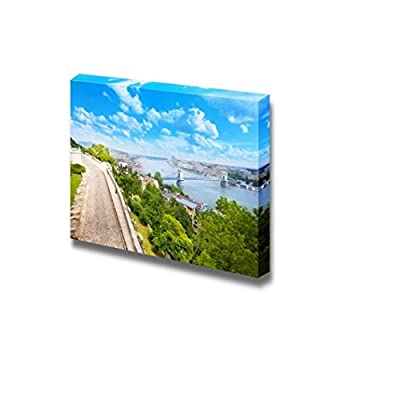 View of Budapest Over Danube and Chain Bridge from Buda Castle Hill in Summer in Budapest Hungary - Canvas Art Wall Art - 12